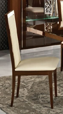 Camel Roma Day Rombi Walnut Eco Leather Upholstered Italian Dining Chair with Padded Back