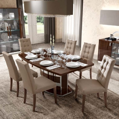 Camel Roma Day Walnut Italian Butterfly Extending Dining Table and 6 Dama Eco Leather Chairs