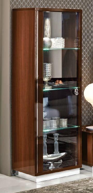 Camel Roma Day Walnut Glamuor Italian 1 Left Door Glass Cabinet