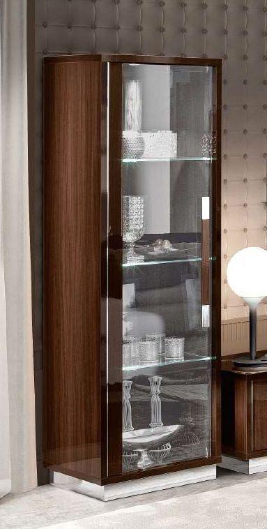 Camel Roma Day Walnut Slim Italian 1 Left Door Glass Cabinet