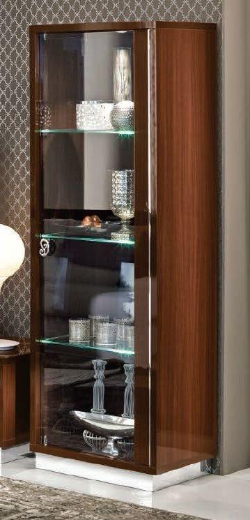 Camel Roma Day Walnut Glamuor Italian 1 Right Door Glass Cabinet