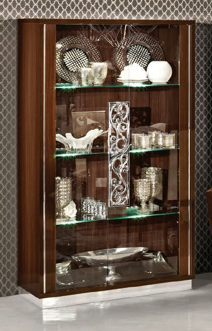 Camel Roma Day Walnut Glamuor Italian Large Glass Cabinet