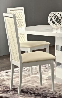Camel Roma Day Rombi White Upholstered Italian Dining Chair with Padded Back