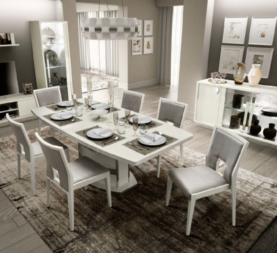 Camel Roma Day White Italian Butterfly Extending Dining Table and 6 Ambra Eco Leather Chairs