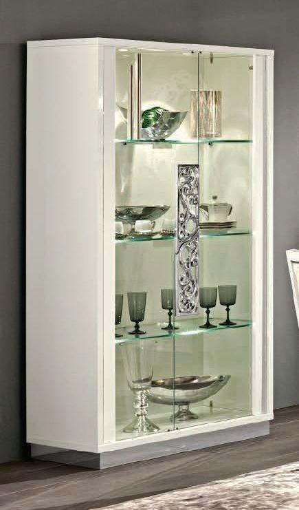 Camel Roma Day White Glamuor Italian Large Glass Cabinet