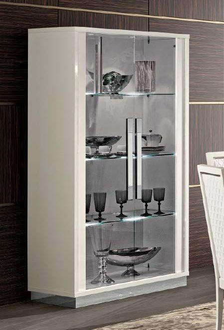 Camel Roma Day White Slim Italian Large Glass Cabinet