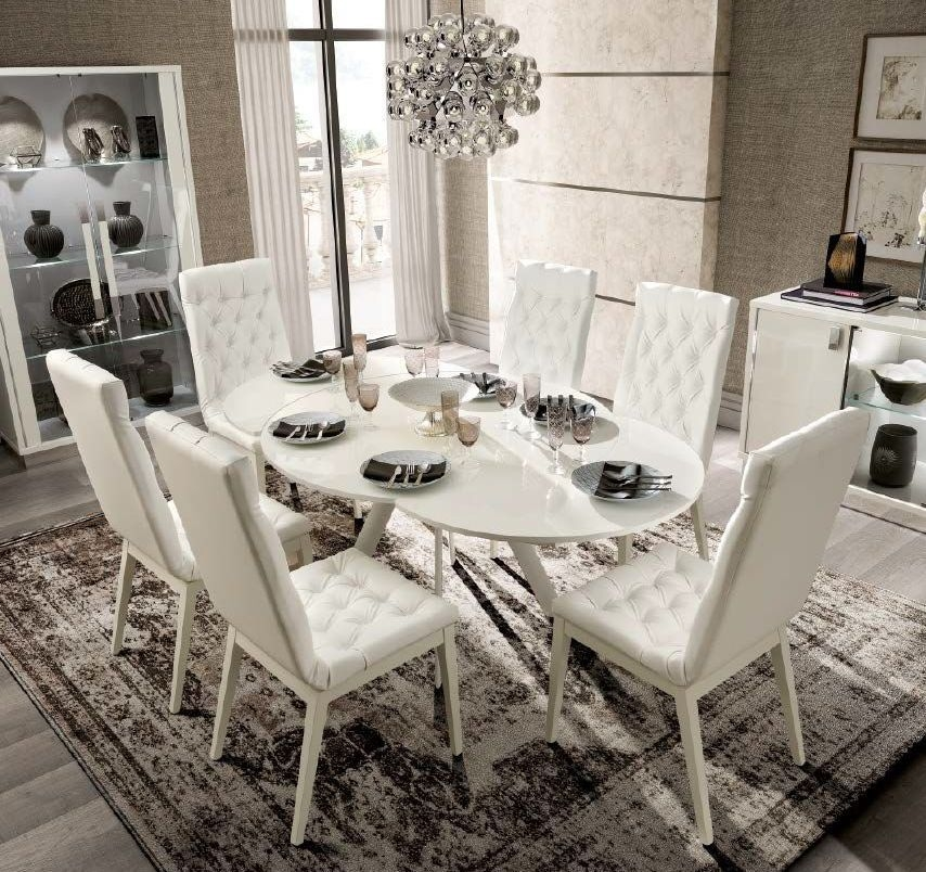 Camel Roma Day White Italian Round Extending Dining Table and 4 Capitonne Eco Leather Chairs