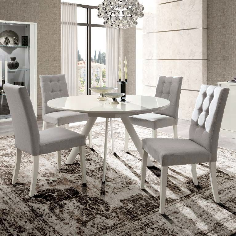 Camel Roma Day White Italian Round Extending Dining Table and 4 Dama Mojito Fabric Chairs