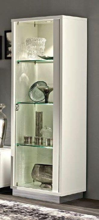 Camel Roma Day White Glamuor Italian 1 Right Door Glass Cabinet