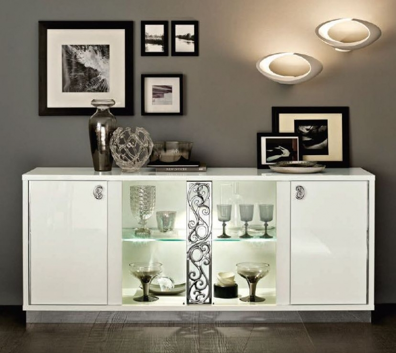 Camel Roma Day White Glamour Italian Vitrine Buffet Sideboard with Glass Door