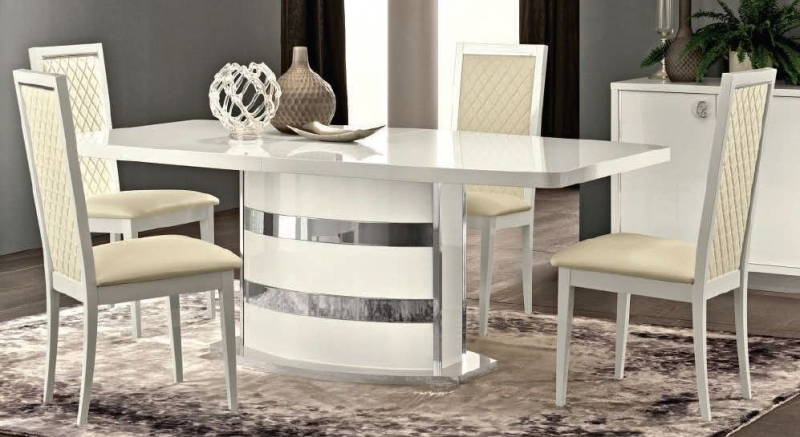 Camel Roma Day White Italian Butterfly Extending Dining Table