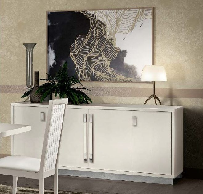 Camel Roma Day White Slim Italian Large Buffet Sideboard