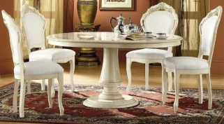 Camel Rossella Italian Dining Set - Round Extending with 4 Chairs