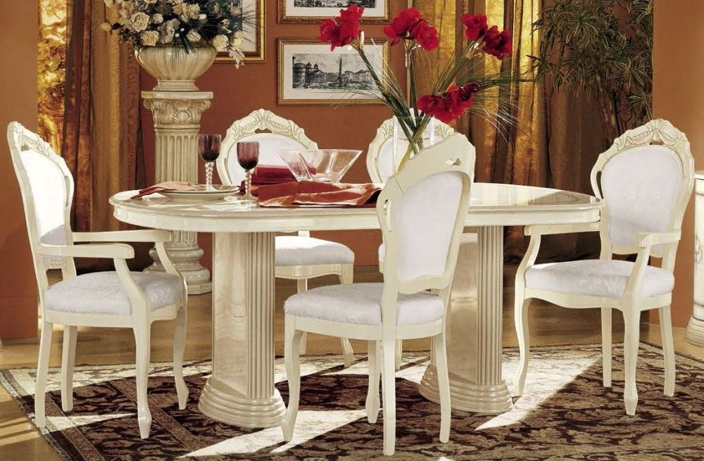 Rossella ivory italian dining set with 6 chairs for B b italia dining room chairs