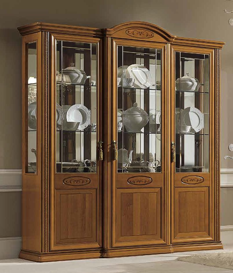 Camel Siena Day Cherry Italian 3 Door Vitrine with 3 LED Light