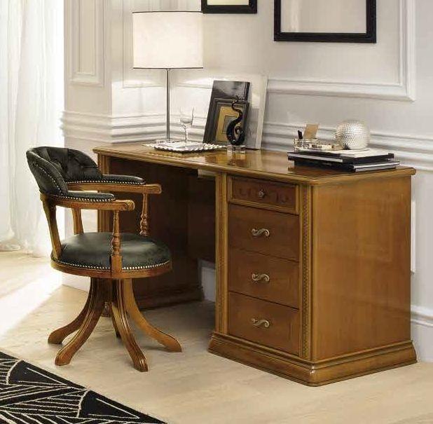 Camel Siena Day Cherry Italian 4 Drawer Premium Writing Desk with Swivel Chair