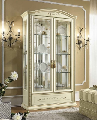 Camel Siena Day Ivory Italian 2 Door Vitrine with LED Light