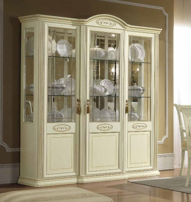 Camel Siena Day Ivory Italian 3 Door Vitrine with LED Light