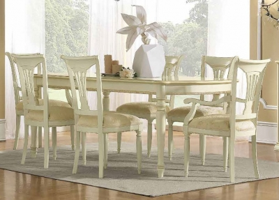 Camel Siena Day Ivory Italian Extending Dining Table with 4 Chairs and 2 Armchair