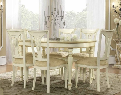 Camel Siena Day Ivory Italian Oval Extending Dining Table and Chairs