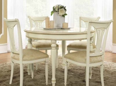 Camel Siena Day Ivory Italian Round Extending Dining Table and Chairs