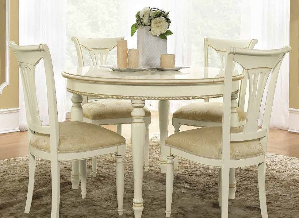 Camel Siena Day Ivory Italian Round Extending Dining Table and 4 Chairs