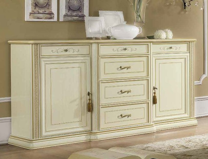 Camel Siena Day Ivory Italian 2 Door 6 Drawer Buffet Sideboard