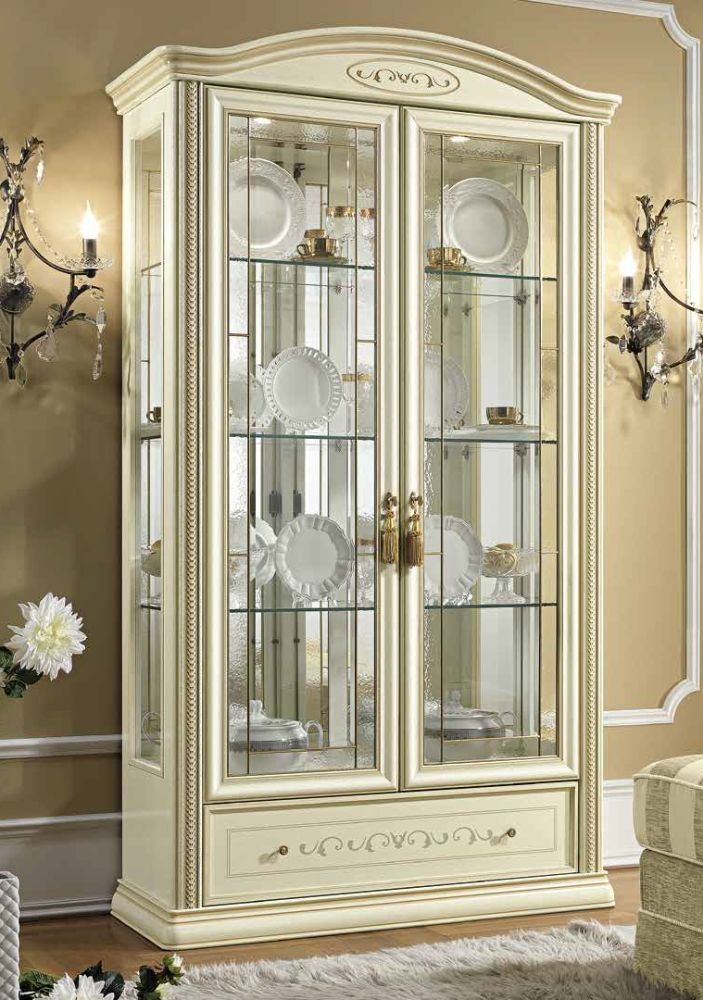 Camel Siena Day Ivory Italian 2 Door Vitrine with 2 LED Light