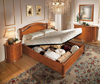 Camel Siena Night Cherry Wood Italian 6ft Queen Size Legno Ring Bed with Storage