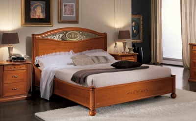 Camel Siena Night Cherry Wood Italian Ferro 6ft Queen Size Ring Bed with Storage