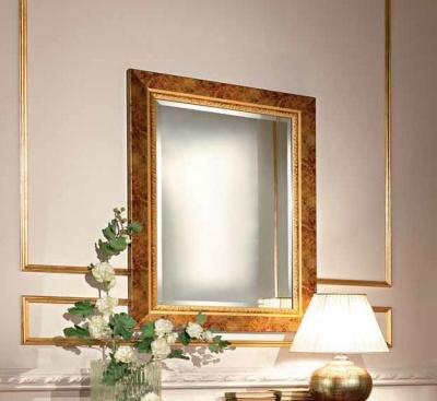 Camel Siena Night Cherry Wood Italian Rectangular Gold Leaf Mirror - 73cm x 100cm