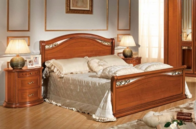 Camel Siena Night legno Cherry Italian 4ft 6in Double Bed with Footboard