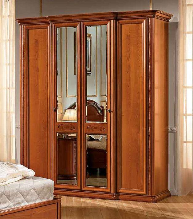 Camel Siena Night Cherry Italian 2 Glass Door and 2 Wooden Door Wardrobe