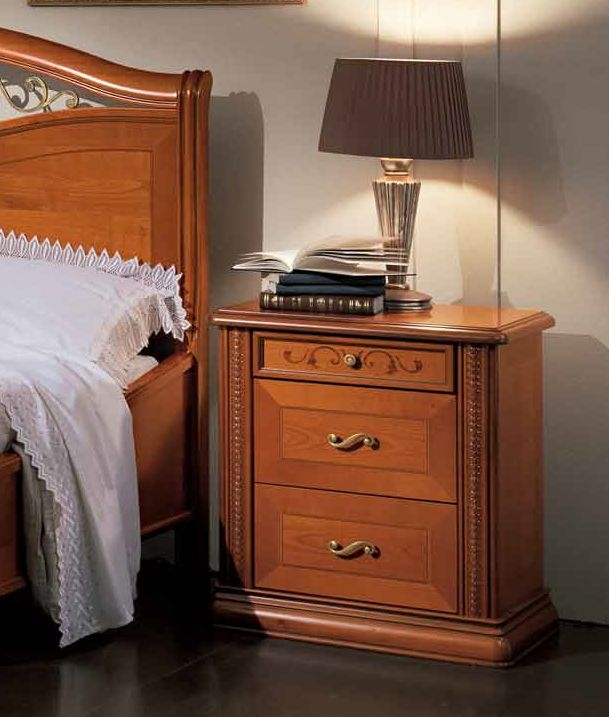 Camel Siena Night Cherry Italian 3 Drawer Arena Night Table