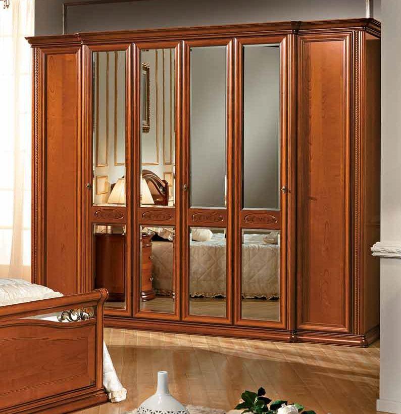Camel Siena Night Cherry Italian 4 Glass Door and 2 Wooden Door Wardrobe