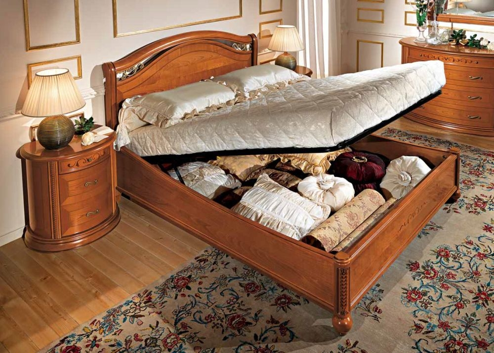 Camel Siena Night legno Cherry Italian 5ft King Size Storage Ring Bed