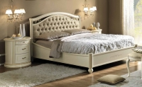 Camel Siena Night Capitonne Ivory Italian 5ft King Size Bed with Footboard