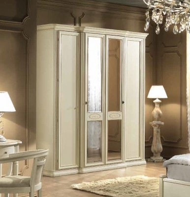 Camel Siena Night Ivory Italian 4 Door Wardrobe with 2 Mirror