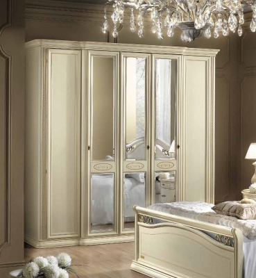 Camel Siena Night Ivory Italian 5 Door Wardrobe with 3 Mirror