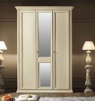 Camel Siena Night Ivory Italian 3 Door Wardrobe with 1 Mirror