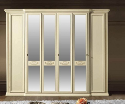 Camel Siena Night Ivory Italian 6 Door Wardrobe with 4 Mirror