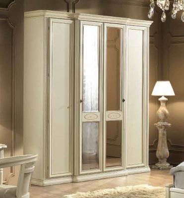 Camel Siena Night Ivory Italian 2 Glass Door and 2 Wooden Door Wardrobe