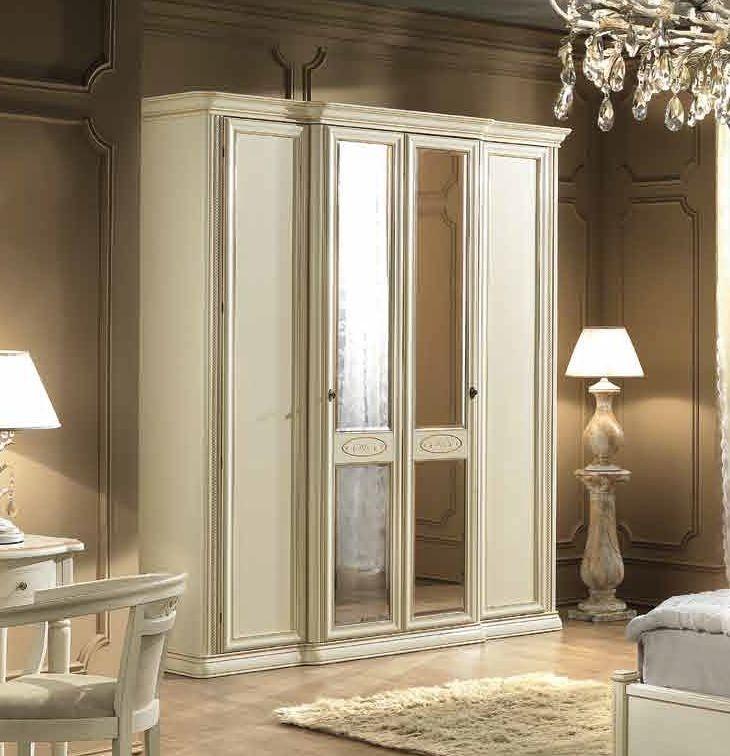 Camel Siena Night Ivory Italian 4 Door Wardrobe with 2 Mirror