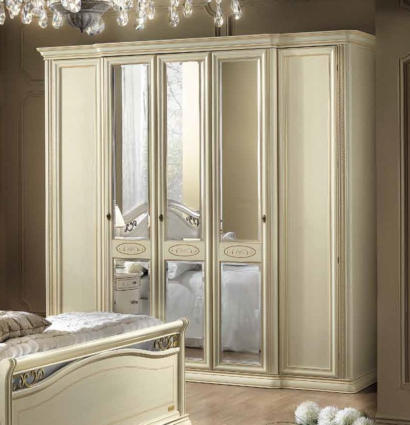 Camel Siena Night Ivory Italian 3 Glass Door and 2 Wooden Door Wardrobe