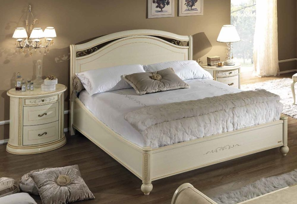 Camel Siena Night legno Ivory Italian 5ft King Size Bed with Footboard