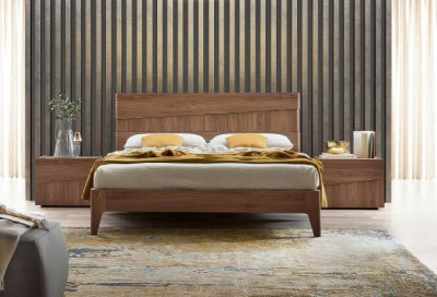 Camel Storm Night Wooden Italian Bed