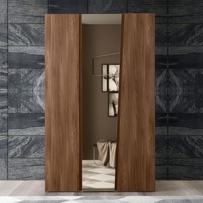 Camel Storm Night Wooden Italian 3 Door Wardrobe with Mirror