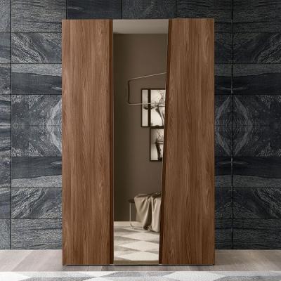 Camel Storm Night Wooden Italian 3 Door Wardrobe with Mirror