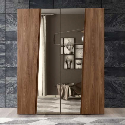 Camel Storm Night Wooden Italian 4 Door Wardrobe with Mirror