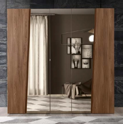 Camel Storm Night Wooden Italian 5 Door Wardrobe with Mirror